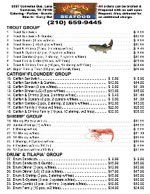 Bayseas Seafood TOGO Menu pg1